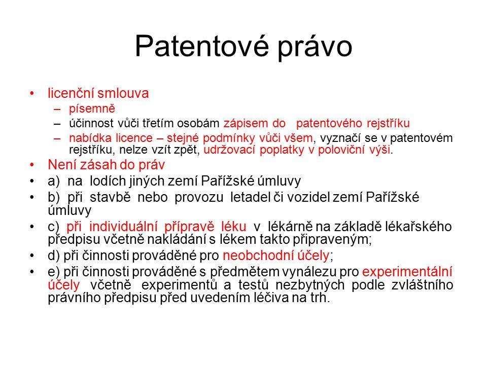 Patentové právo licenční smlouva Není zásah do práv