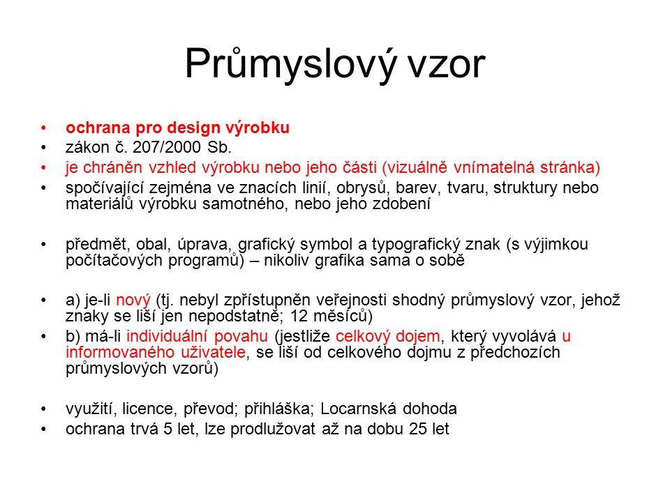 Průmyslový vzor ochrana pro design výrobku zákon č. 207/2000 Sb.