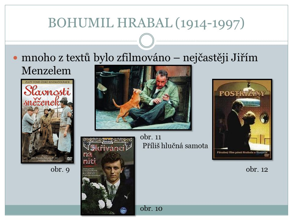 BOHUMIL HRABAL (1914-1997) mnoho z textů bylo zfilmováno – nejčastěji Jiřím Menzelem. obr. 11. Příliš hlučná samota.