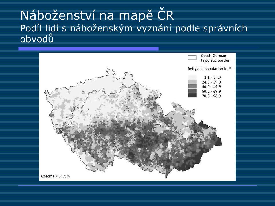Náboženství na mapě ČR Podíl lidí s náboženským vyznání podle správních obvodů