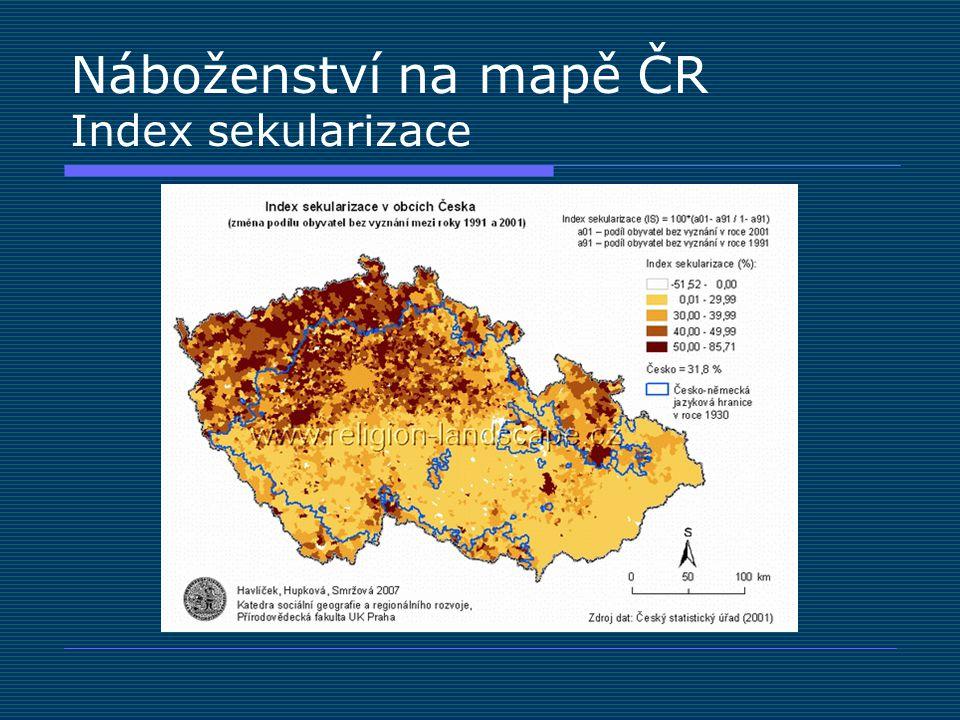 Náboženství na mapě ČR Index sekularizace