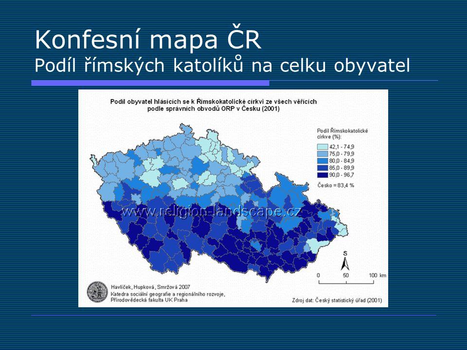 Konfesní mapa ČR Podíl římských katolíků na celku obyvatel