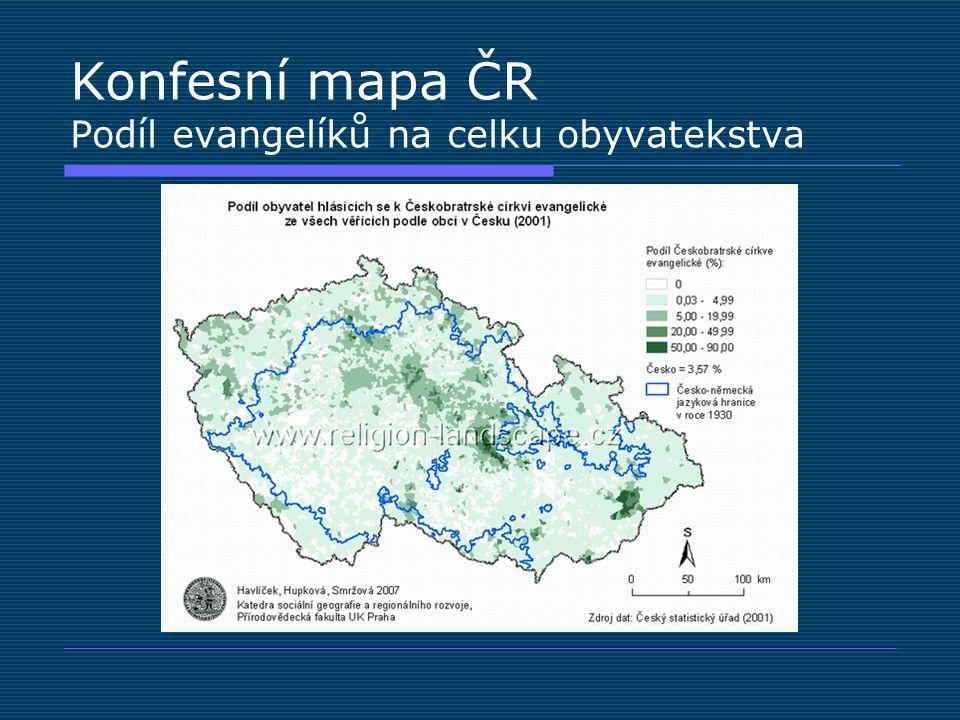 Konfesní mapa ČR Podíl evangelíků na celku obyvatekstva
