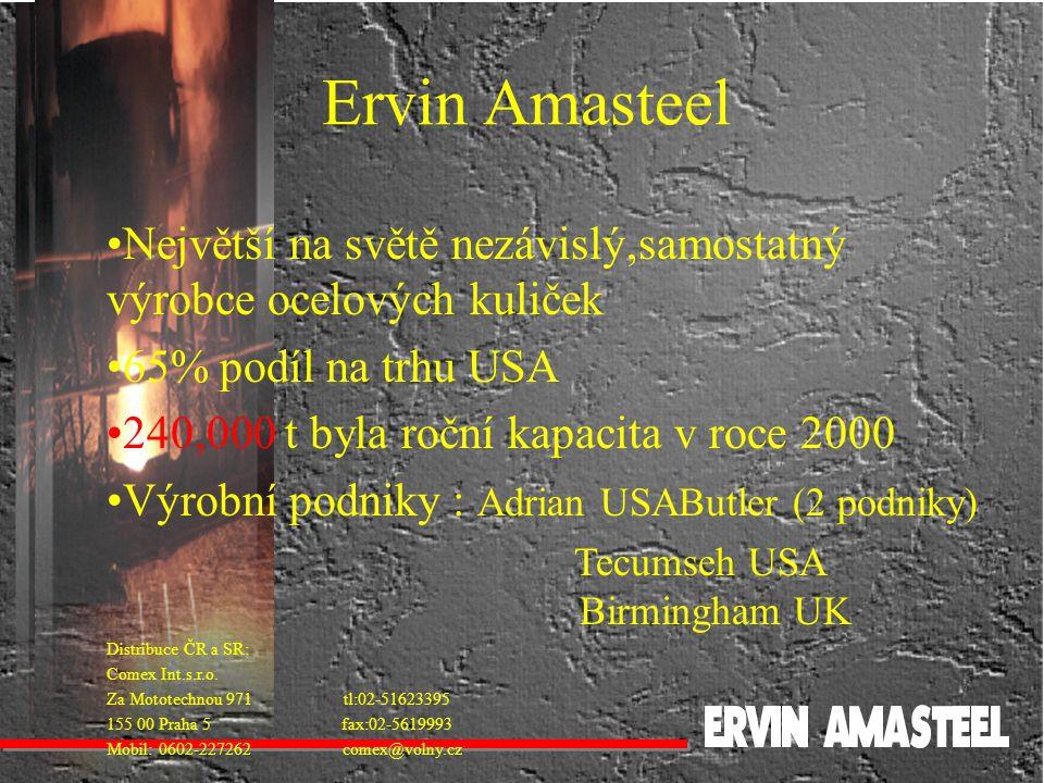 Ervin Amasteel Největší na světě nezávislý,samostatný výrobce ocelových kuliček. 65% podíl na trhu USA.