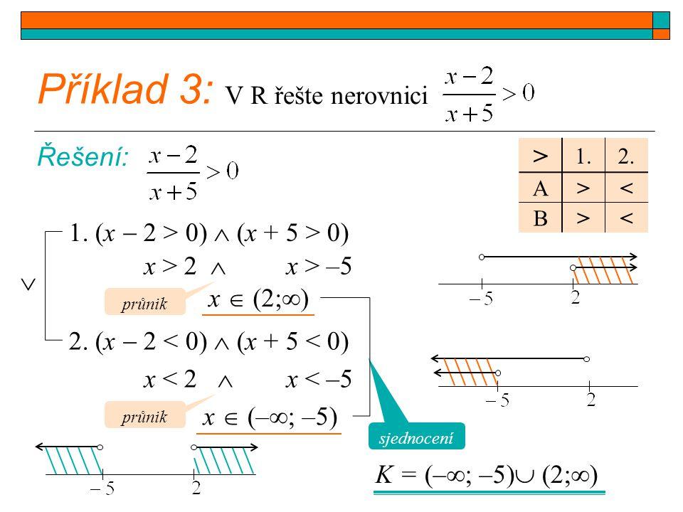 Příklad 3: > V R řešte nerovnici Řešení: