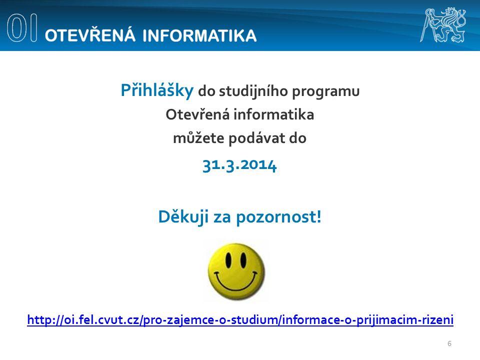Přihlášky do studijního programu