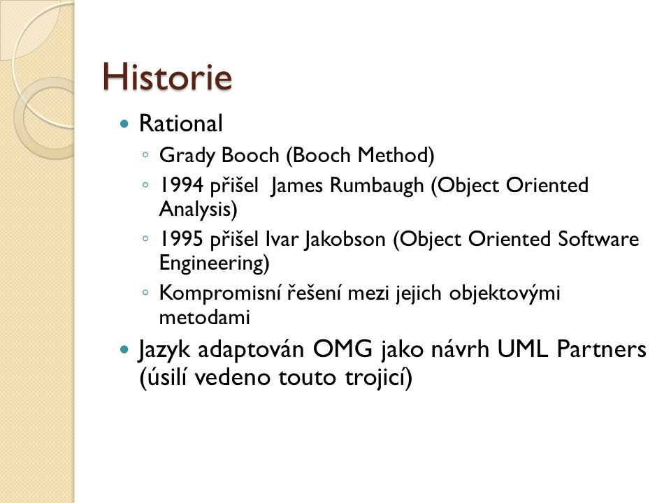 Historie Rational. Grady Booch (Booch Method) 1994 přišel James Rumbaugh (Object Oriented Analysis)