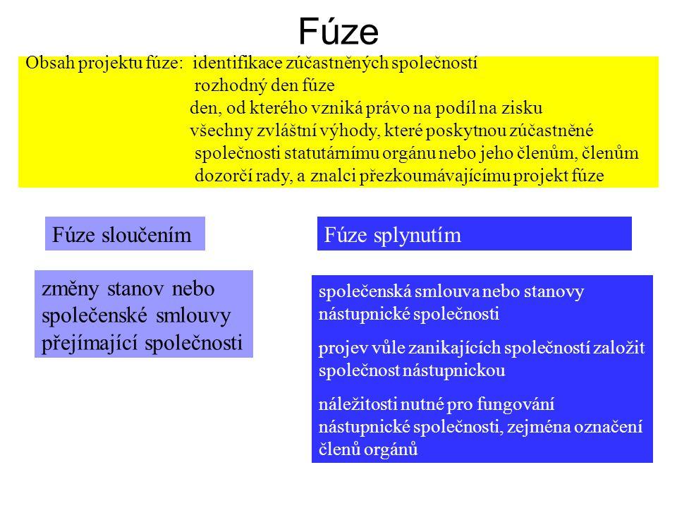 Fúze Fúze sloučením Fúze splynutím