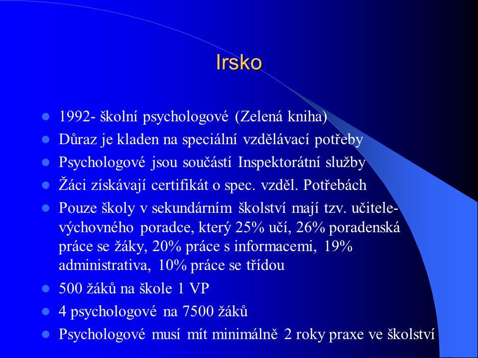 Irsko 1992- školní psychologové (Zelená kniha)