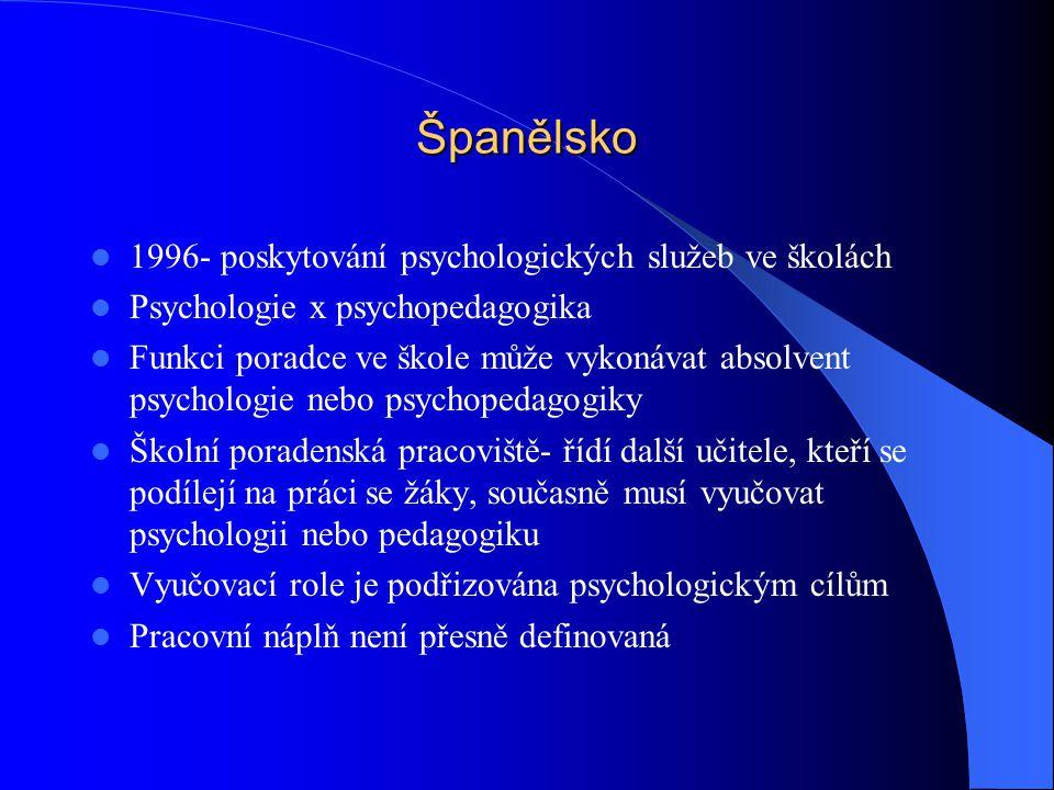 Španělsko 1996- poskytování psychologických služeb ve školách