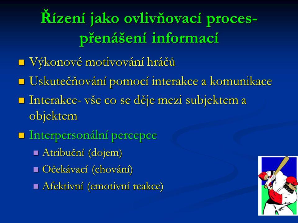 Řízení jako ovlivňovací proces-přenášení informací