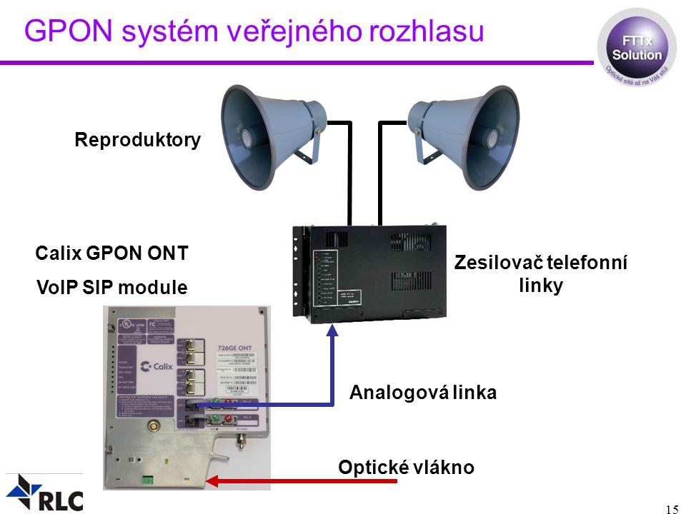 GPON systém veřejného rozhlasu