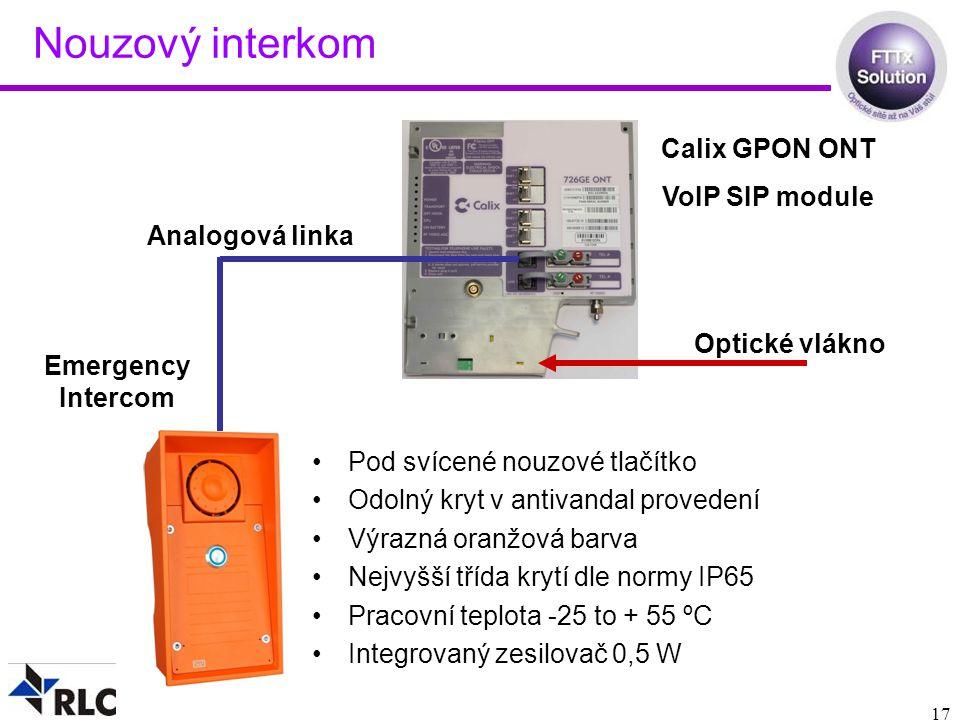 Nouzový interkom Calix GPON ONT VoIP SIP module Analogová linka
