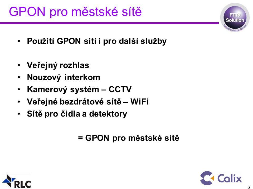GPON pro městské sítě Použití GPON sítí i pro další služby