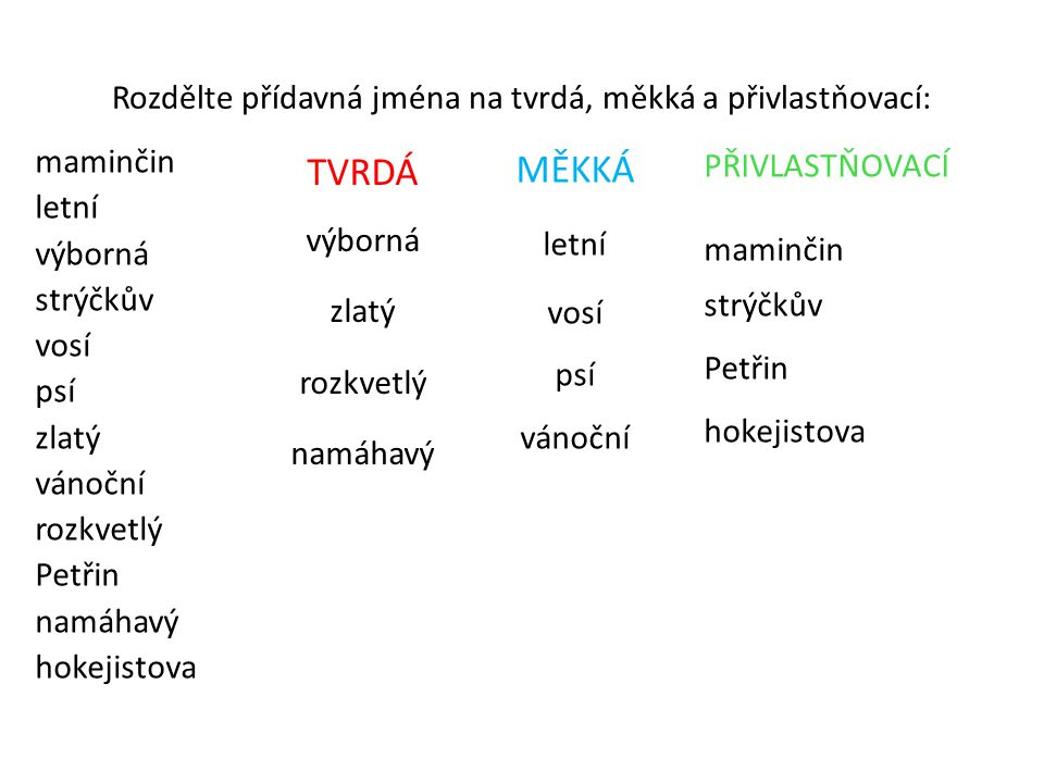 Rozdělte přídavná jména na tvrdá, měkká a přivlastňovací: