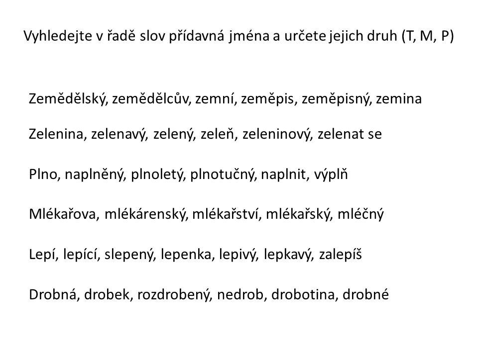 Vyhledejte v řadě slov přídavná jména a určete jejich druh (T, M, P)