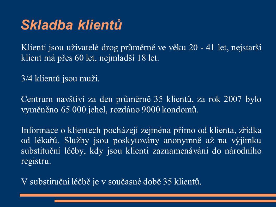 Skladba klientů Klienti jsou uživatelé drog průměrně ve věku 20 - 41 let, nejstarší klient má přes 60 let, nejmladší 18 let.