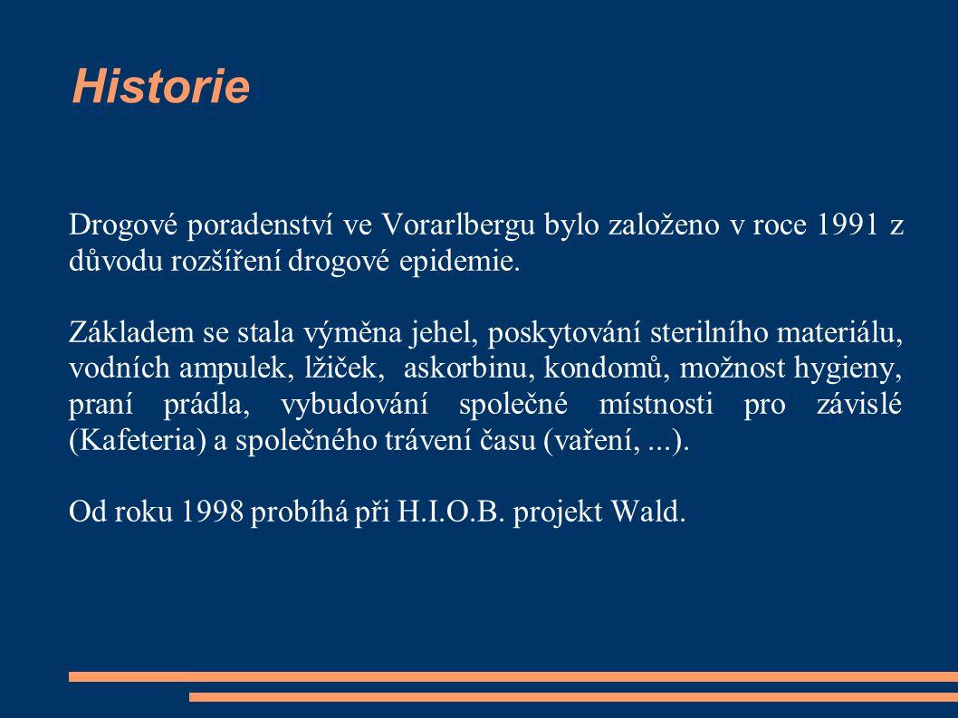 Historie Drogové poradenství ve Vorarlbergu bylo založeno v roce 1991 z důvodu rozšíření drogové epidemie.