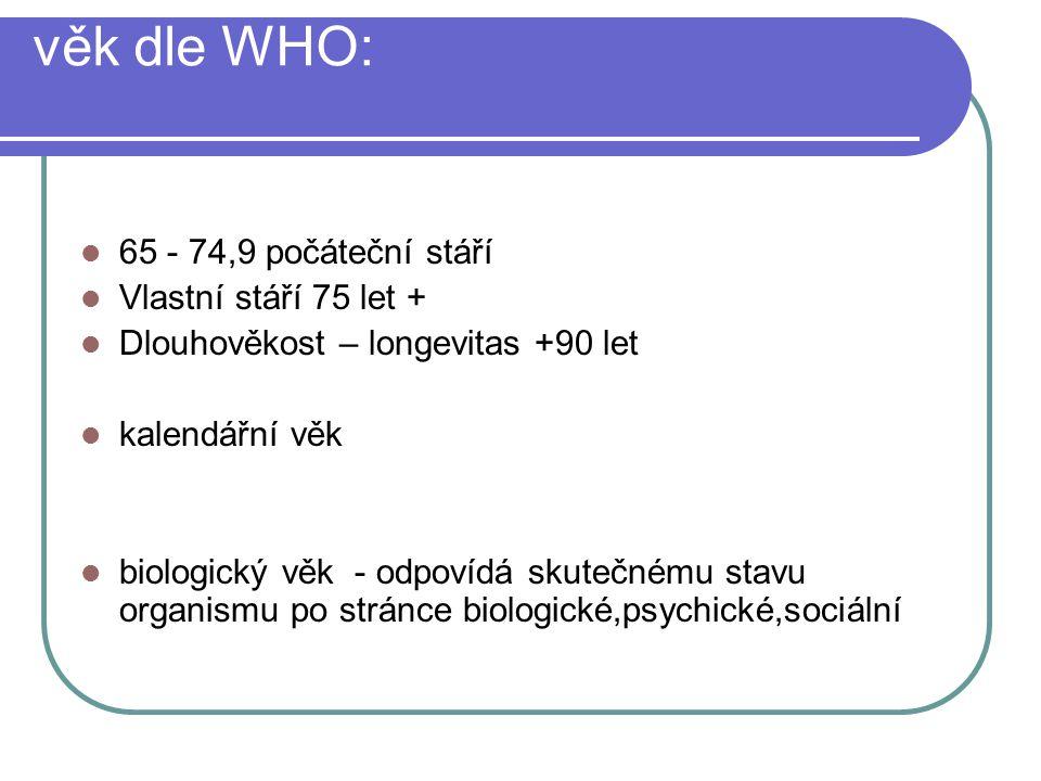 věk dle WHO: 65 - 74,9 počáteční stáří Vlastní stáří 75 let +