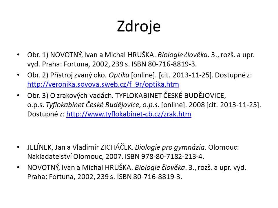 Zdroje Obr. 1) NOVOTNÝ, Ivan a Michal HRUŠKA. Biologie člověka. 3., rozš. a upr. vyd. Praha: Fortuna, 2002, 239 s. ISBN 80-716-8819-3.