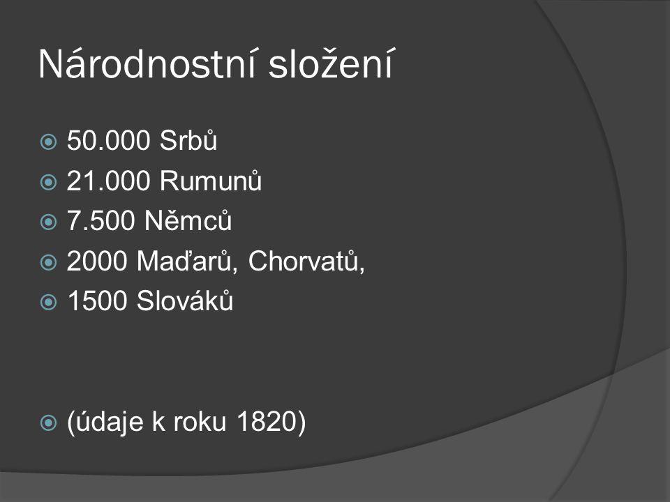 Národnostní složení 50.000 Srbů 21.000 Rumunů 7.500 Němců