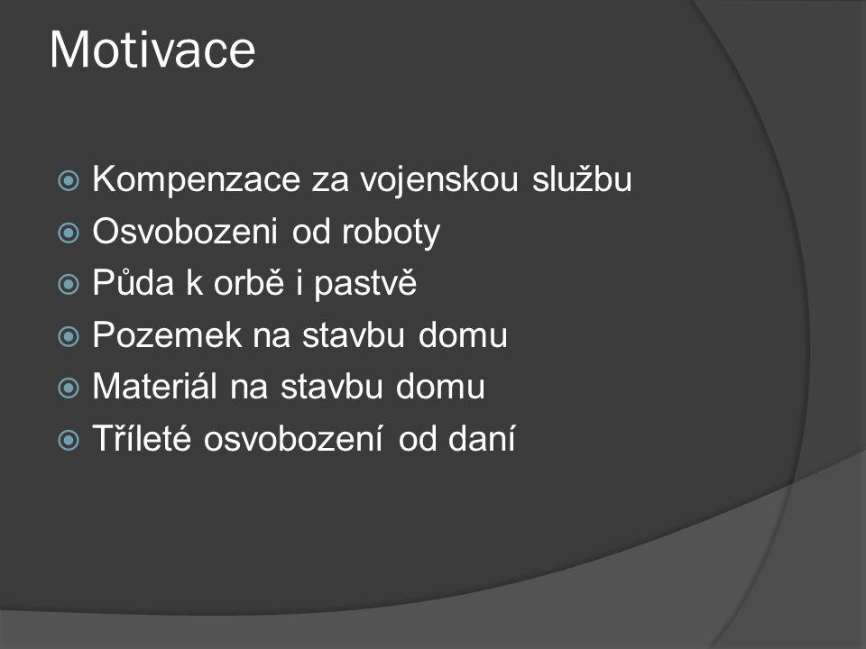 Motivace Kompenzace za vojenskou službu Osvobozeni od roboty
