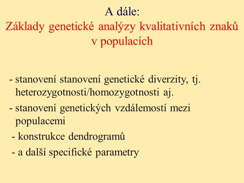 A dále: Základy genetické analýzy kvalitativních znaků v populacích