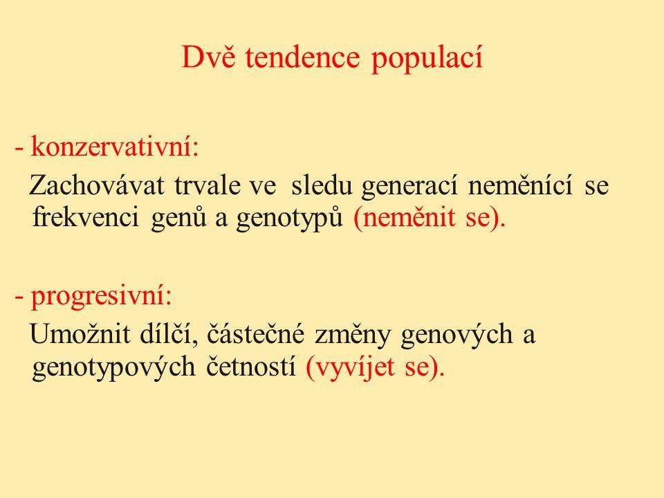 Dvě tendence populací - konzervativní: