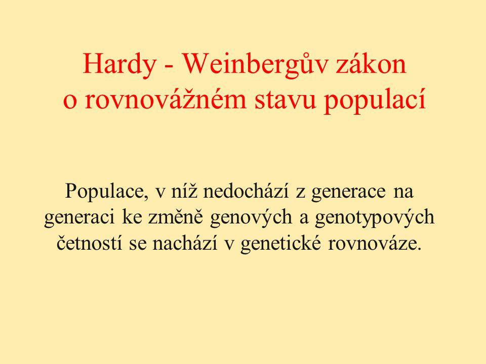 Hardy - Weinbergův zákon o rovnovážném stavu populací