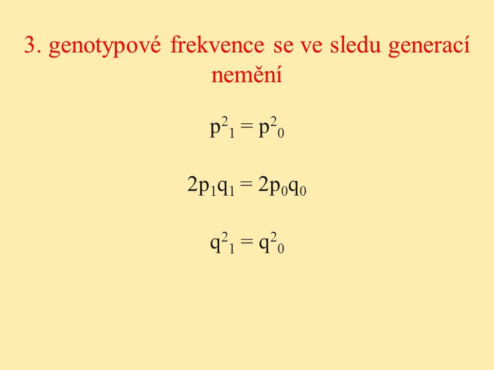 3. genotypové frekvence se ve sledu generací nemění