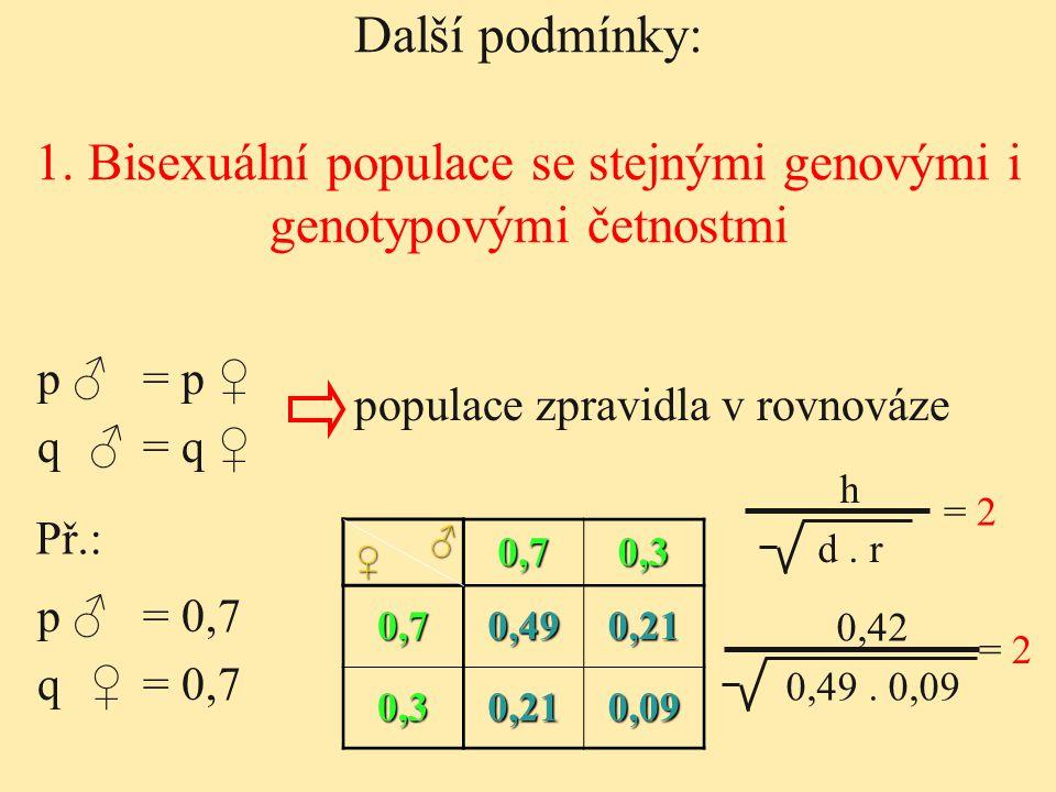 1. Bisexuální populace se stejnými genovými i genotypovými četnostmi