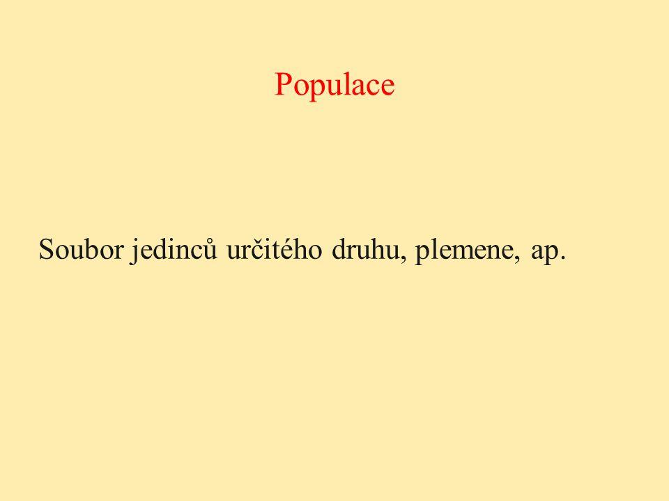 Populace Soubor jedinců určitého druhu, plemene, ap.