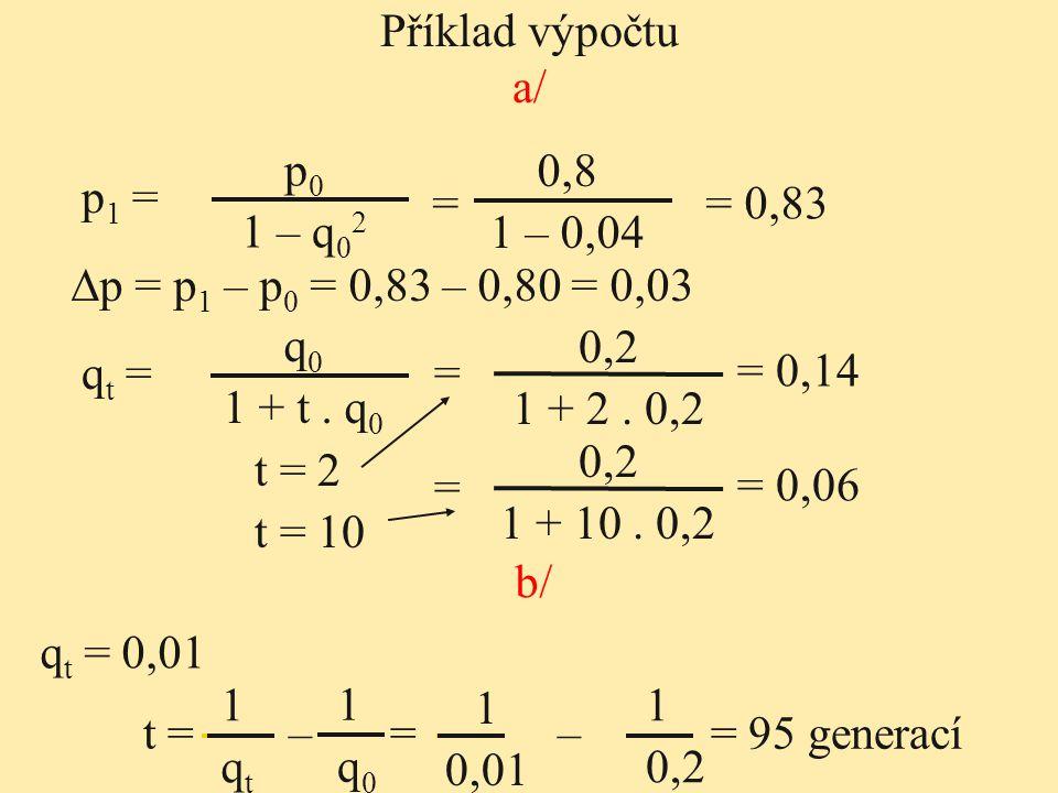 Příklad výpočtu a/ p0. 1 – q02. 0,8. 1 – 0,04. p1 = = = 0,83. ∆p = p1 – p0 = 0,83 – 0,80 = 0,03.
