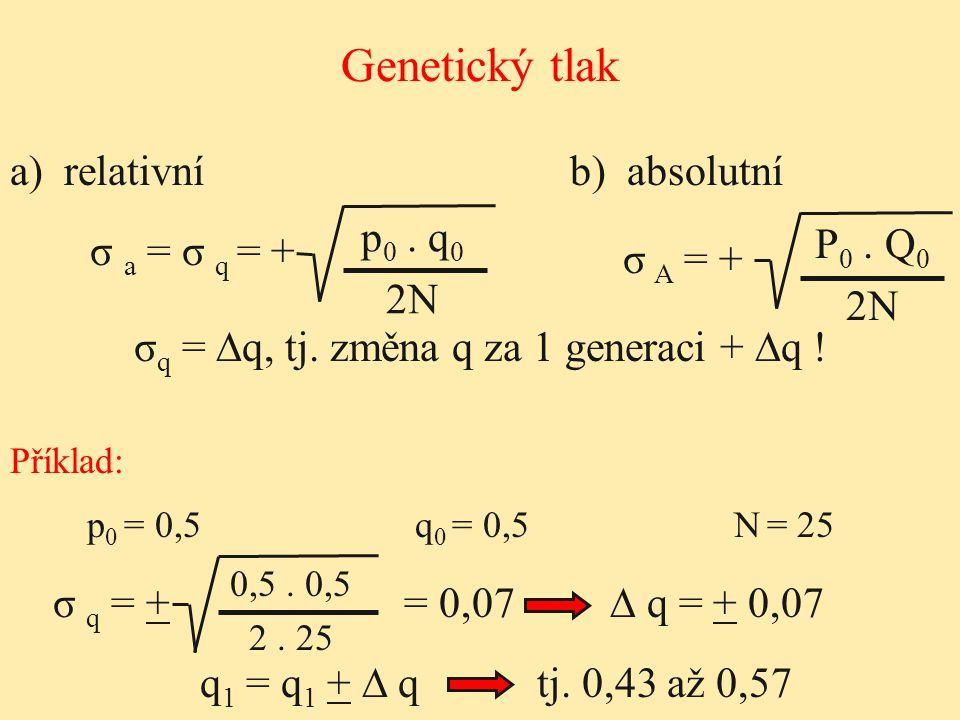 σq = ∆q, tj. změna q za 1 generaci + ∆q !