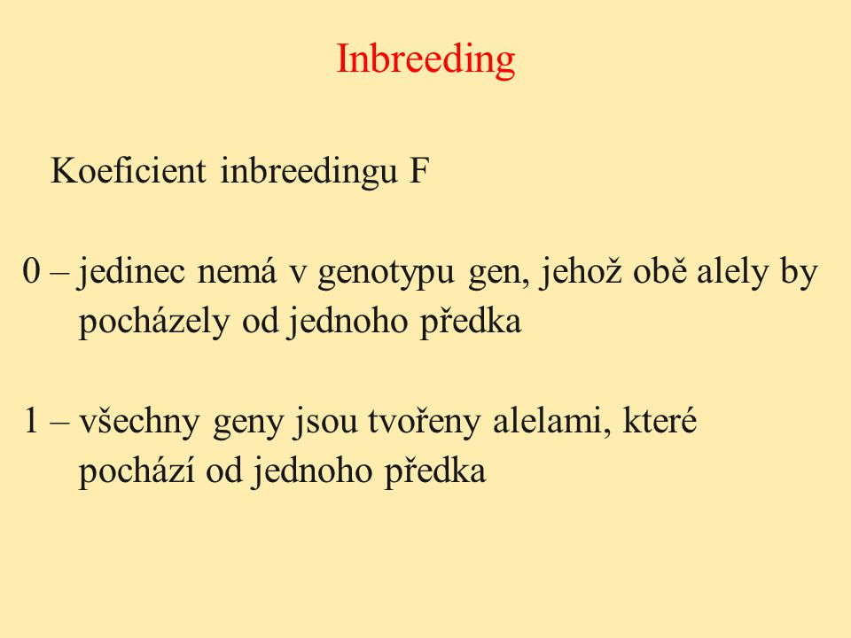 Inbreeding Koeficient inbreedingu F
