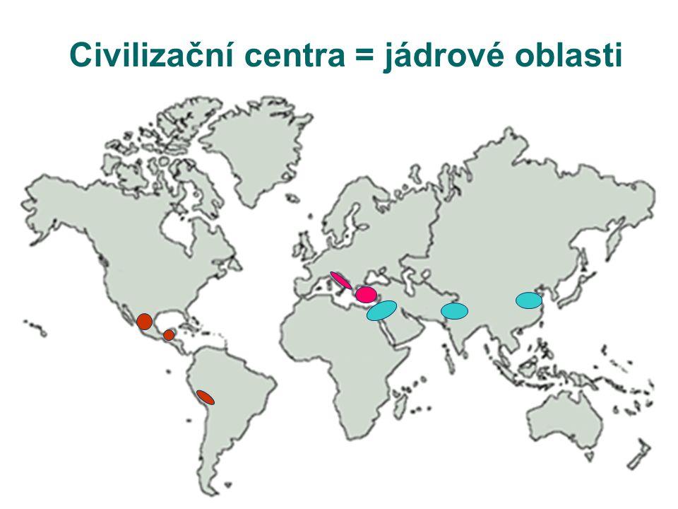 Civilizační centra = jádrové oblasti