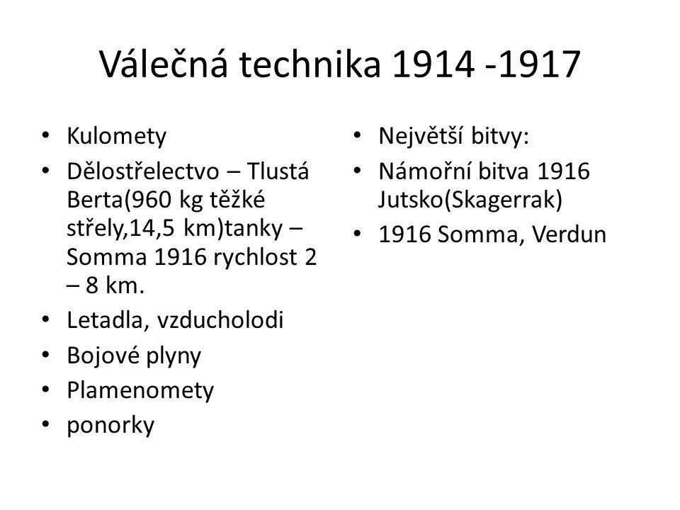 Válečná technika 1914 -1917 Kulomety