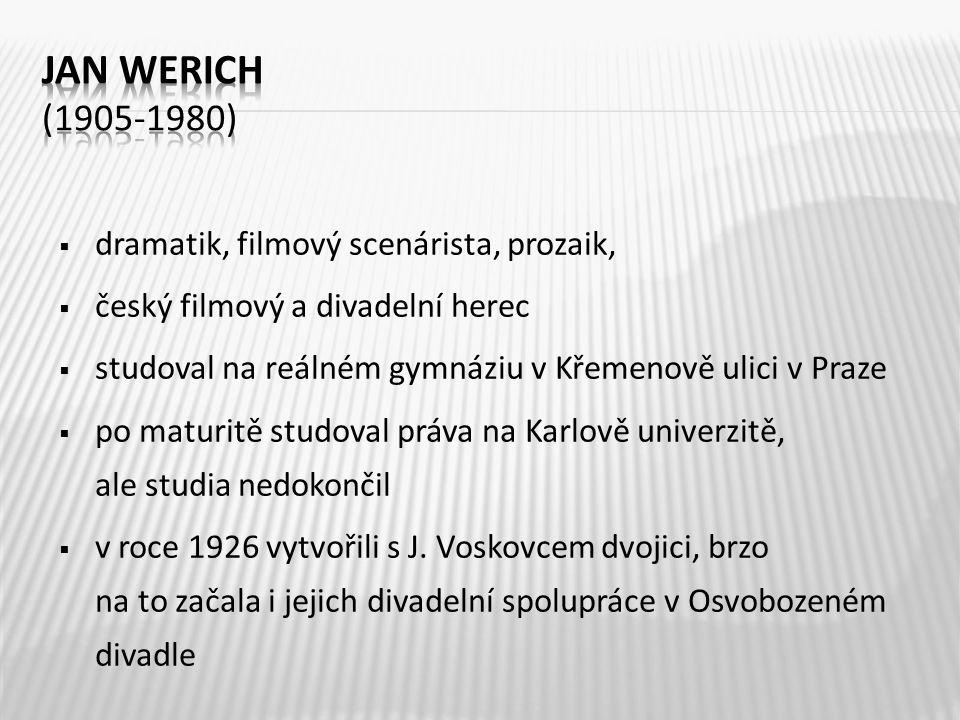 Jan Werich (1905-1980) dramatik, filmový scenárista, prozaik,
