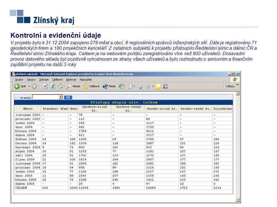 Kontrolní a evidenční údaje