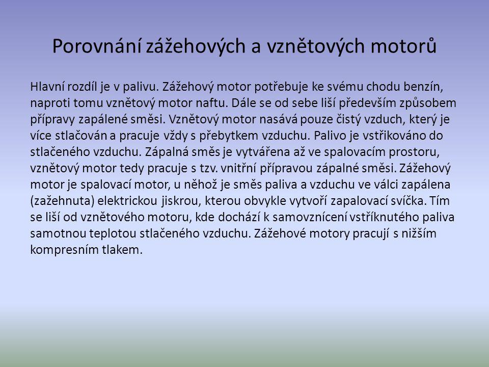 Porovnání zážehových a vznětových motorů