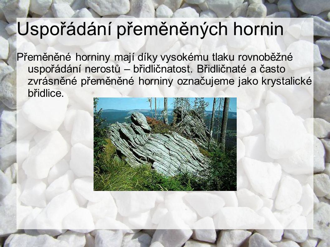 Uspořádání přeměněných hornin