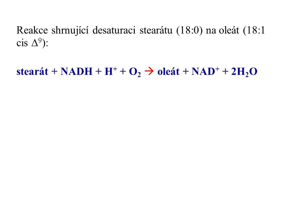 Reakce shrnující desaturaci stearátu (18:0) na oleát (18:1 cis D9):