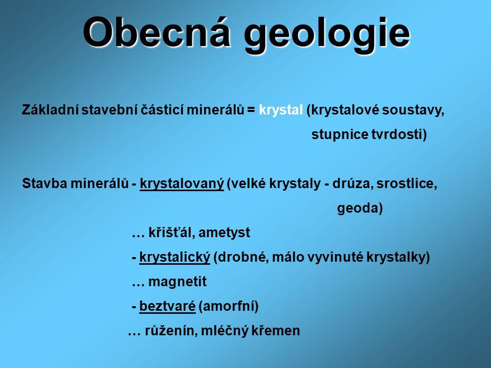 Obecná geologie Základní stavební částicí minerálů = krystal (krystalové soustavy, stupnice tvrdosti)