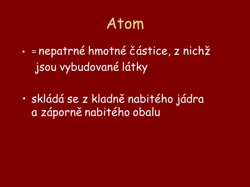 Atom jsou vybudované látky