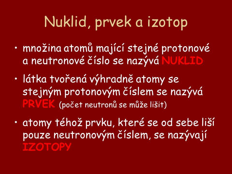 Nuklid, prvek a izotop množina atomů mající stejné protonové a neutronové číslo se nazývá NUKLID.