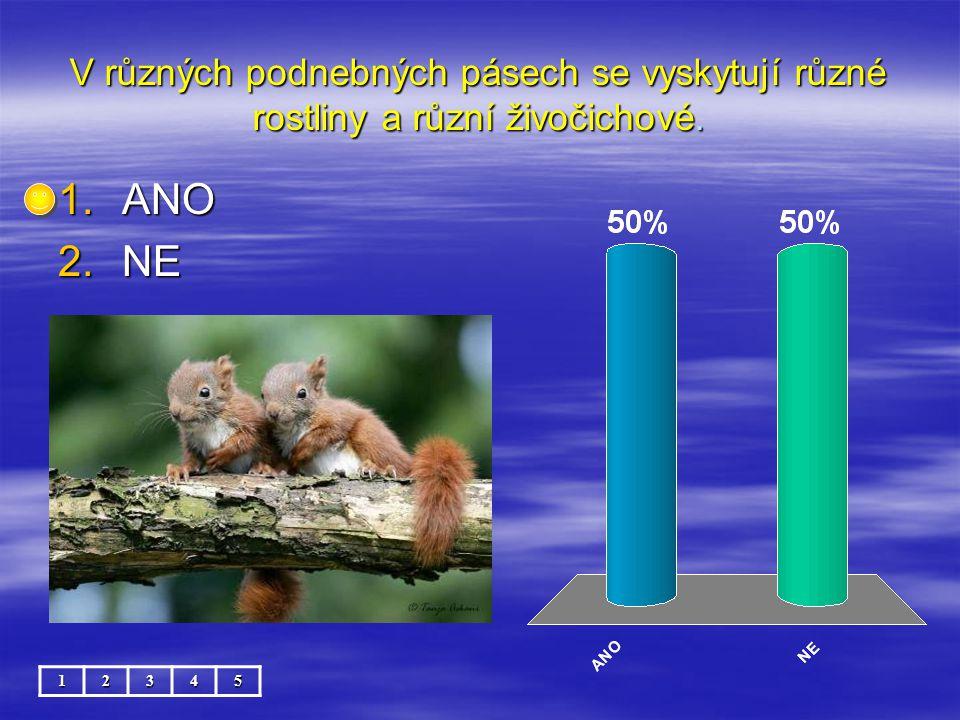 V různých podnebných pásech se vyskytují různé rostliny a různí živočichové.