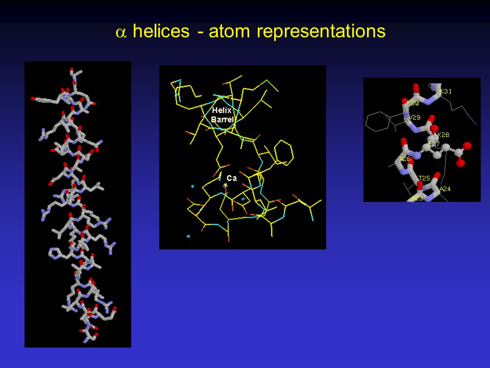 a helices - atom representations