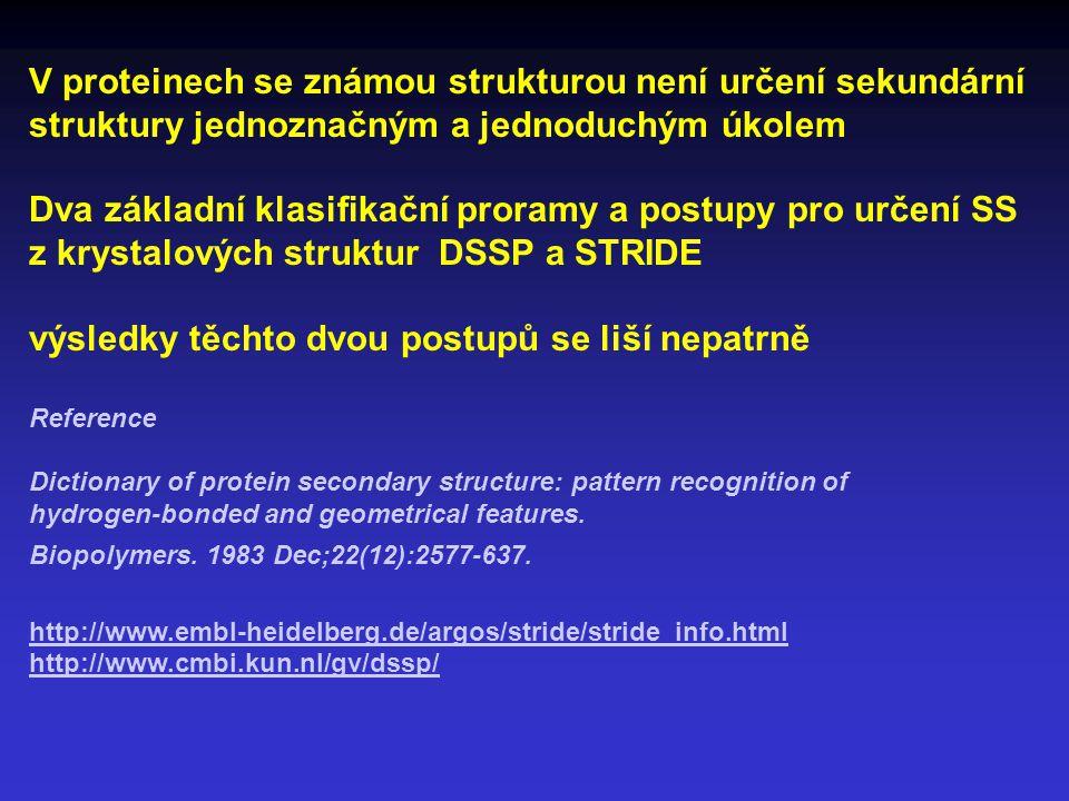 V proteinech se známou strukturou není určení sekundární