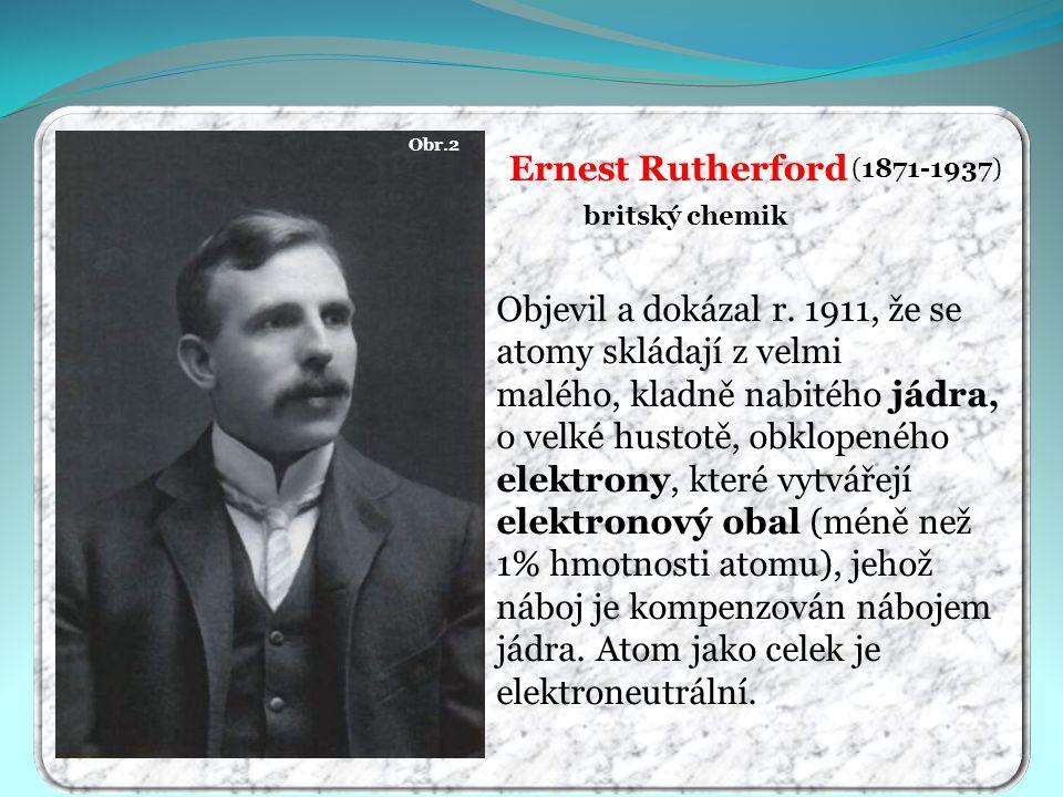 Obr.2 Ernest Rutherford. (1871-1937) britský chemik.