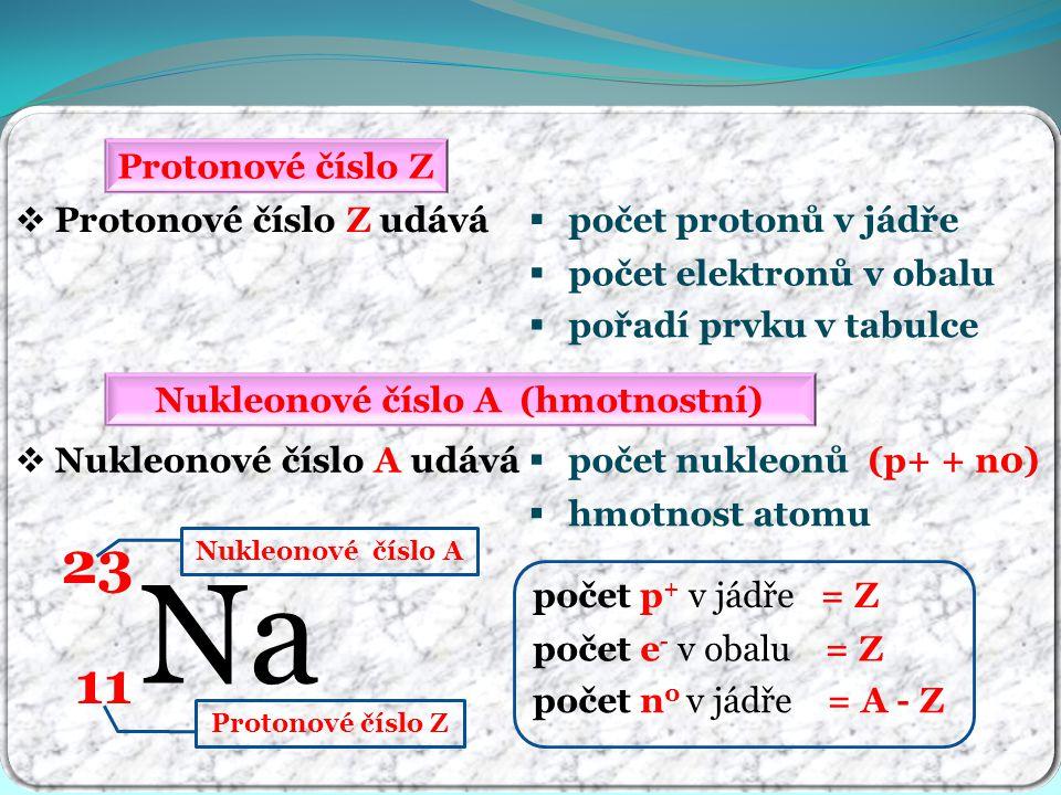Nukleonové číslo A (hmotnostní)